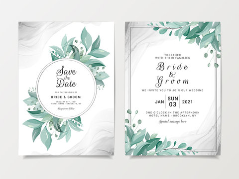 Elegant wedding invitation card template set with floral frame and silver fluid background. Wild leaves botanic illustration for save the date, greeting, poster, cover vector