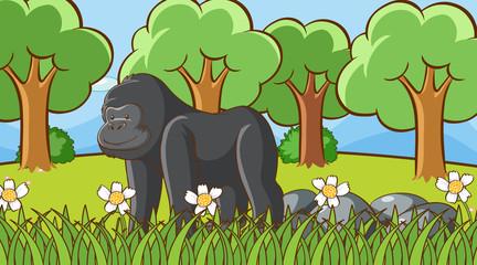 In de dag Kids Scene with gorilla in the forest