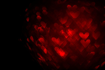 valentines day background with red hearts bokeh and copy space, love concept template