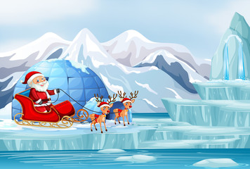 Scene with Santa and reindeer