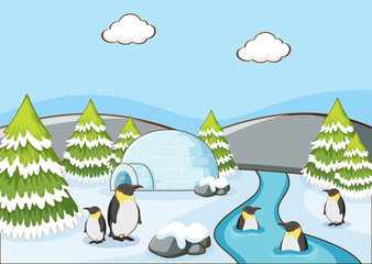 Poster Kids Scene with penguins in winter