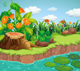 Poster Kids Background scene with nature theme