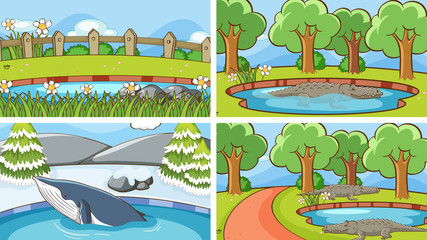 Poster Kids Background scenes of animals in the wild