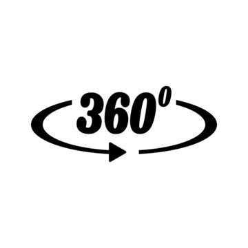 Angle 360 degree vector symbol isolated on white background