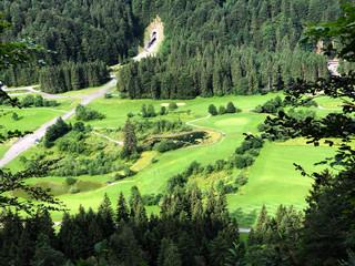 Printed kitchen splashbacks Khaki Golf Course Ybrig or Golfplatz Ybrig (Golf Club Ybrig, Schweiz), Studen - Canton of Schwyz, Switzerland