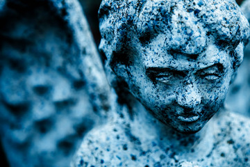 Fototapete - Sad eyes of sad angel. Fragment of ancient statue of death as symbol of pain and end of life.