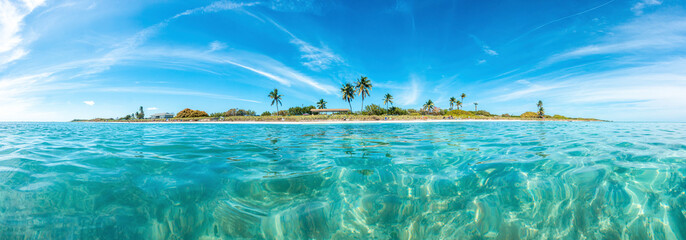 Panoramic picture of Sandspur Beach on Florida Keys in spring during daytime
