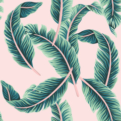 Tropical vector banana leaves floral seamless pattern pink background. Exotic jungle wallpaper.
