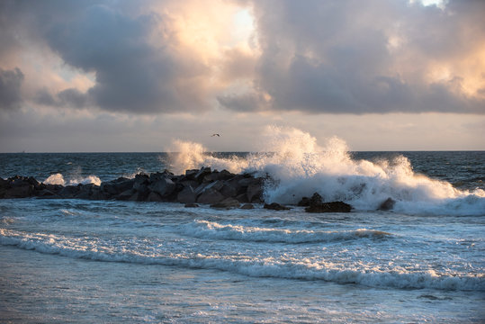 Ocean Surge Crashes on Rock Jetty