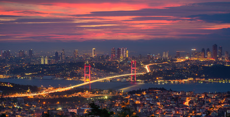 Wall Murals Bridges Bosphorus bridge in Istanbul, Turkey