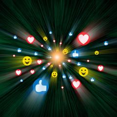 Social Media Emojis traveling through Cyberspace