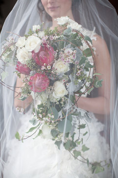 Lyndhurst Bride Bouquet Under Veil