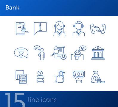 Bank line icon set