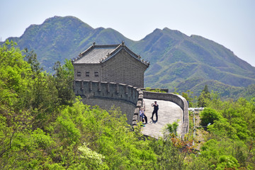 Fotobehang Chinese Muur Section of Great Wall Juyonguan