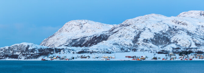 Skulsfjord Village In The Winter Time, Kvaloya, Troms, Norway