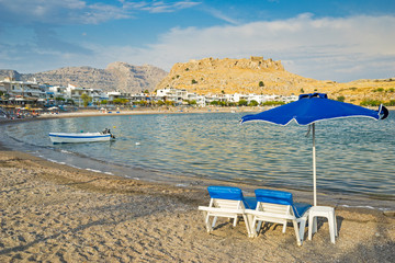 Wall Mural - Evening light at Haraki Beach or Charaki on the Island of Rhodes Rodos Greece Europe