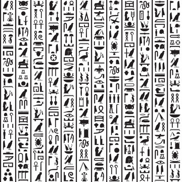 Hieroglyphs of Ancient Egypt black vertical
