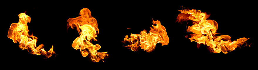 Photo on textile frame Fire / Flame Red flame isolated on a black background
