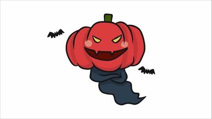 Wall Mural - Monster pumpkin head Happy Halloween cartoon doodle