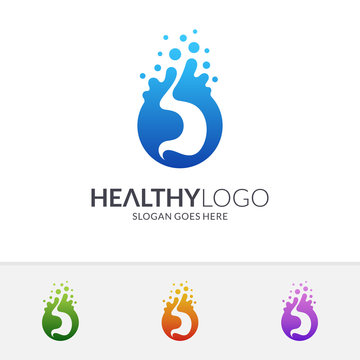 Stomach with water bubble logo concept. Healthy and fresh stomach logo. Medical flat icon. Vector of human internal organ