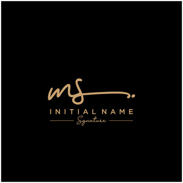 Letter MS Signature Logo Template Vector