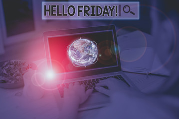 Text sign showing Hello Friday. Business photo showcasing used to express happiness from beginning of fresh week Picture photo system network scheme modern technology smart device and Elements of this