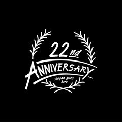 22 years design template. Vector and illustration. 22 years logo.