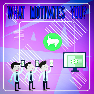 Word writing text What Motivates Youquestion. Business photo showcasing know reasons why you want to wake up each morning SMS Email Marketing Media Audience Attraction Personal Computer Loudspeaker