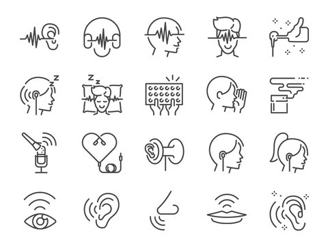 ASMR line icon set. Included icons as relax, relieve, sleep, sound, touch, feeling and more.