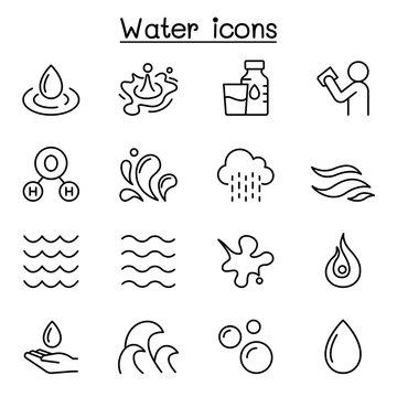 Water, liquid, aqua icon set in thin line style