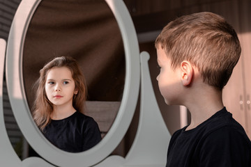 Fototapeta Sister and brother concept. Boy and girl. Concept of Gender dysphoria.