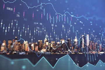 Spoed Foto op Canvas New York Financial graph on night city scape with tall buildings background double exposure. Analysis concept.