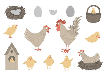 Vector set of cute funny hen and rooster with little chicks, eggs, nest. Spring or Easter funny illustration. Collection of design elements for Christian holiday.