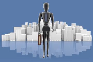 Leader. Manager con sullo sfondo la città..