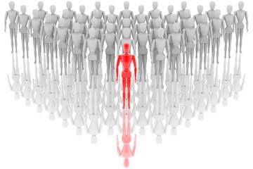 Leader. Persona davanti a tutti gli altri. In primo piano precede altre persone..