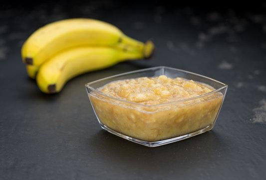 Banana Puree on a slate slab