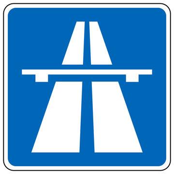 gz643 GrafikZeichnung - german, autobahn, traffic sign. highway / expressway 330.1 - deutsch - STVO Verkehrszeichen, Autobahnschild - simple template - square - blue poster - xxl g8865