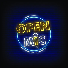 Open Mic Neon Signs Style Text Vector