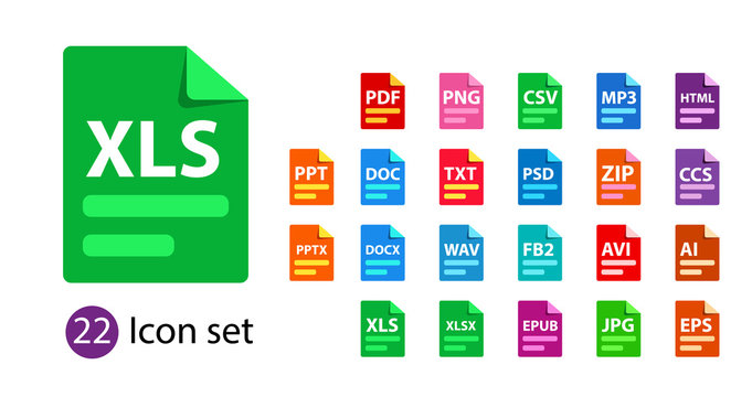 Collection of vector icons. File format extensions icons. PDF, DOC, JPG, PSD, MP3, TXT DOC DOCx ZIP PPT XLS