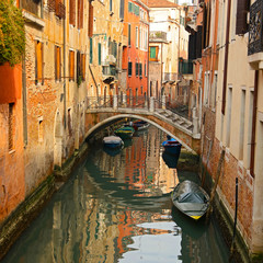 Venice in Italy, bridge and gondola