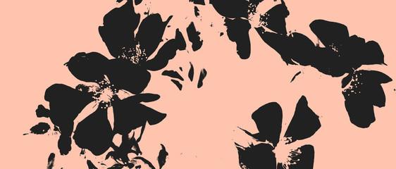 Fototapeta Retro vintage illustration in asian style black flowers on pink background floral natural pattern obraz