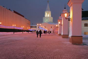 City Street January night. Kazan, Russia