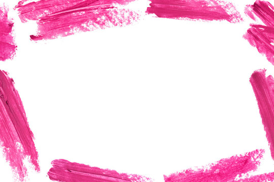 Frame of lipstick smear isolated on white background. Makeup border