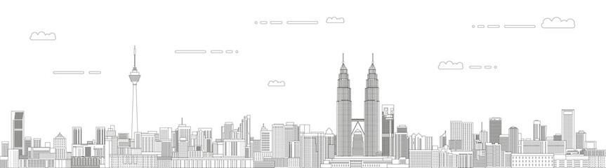 Fototapete - Kuala Lumpur cityscape line art style vector illustration. Detailed skyline poster