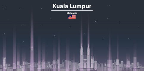 Kuala Lumpur at night cityscape line art style vector illustration. Detailed skyline poster