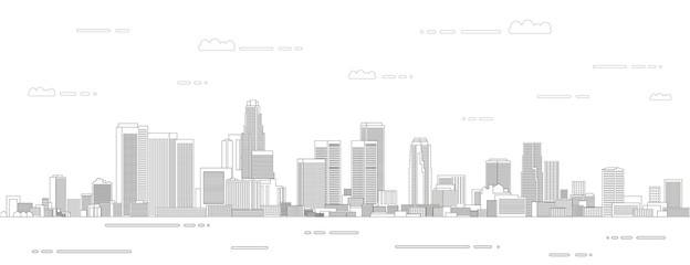 Fototapete - Los Angeles cityscape line art style vector illustration. Detailed skyline poster