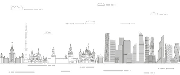 Fototapete - Moscow cityscape line art style vector illustration. Detailed skyline poster