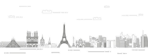 Fototapete - Paris cityscape line art style vector illustration. Detailed skyline poster