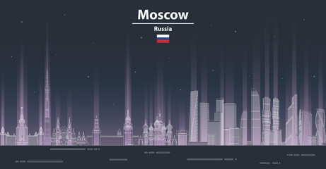 Fototapete - Moscow at night cityscape line art style vector illustration. Detailed skyline poster