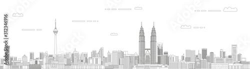 Fototapete Kuala Lumpur cityscape line art style vector illustration. Detailed skyline poster